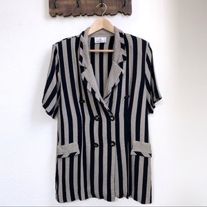 Vintage | Referee Striped Double Breasted Blouse